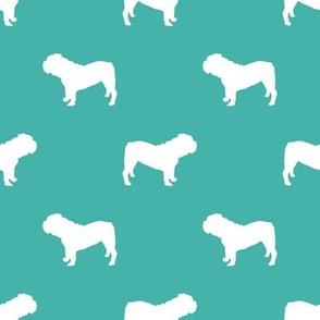 English Bulldog silhouette dog fabric turquoise