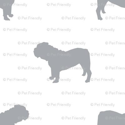 English Bulldog silhouette dog fabric grey