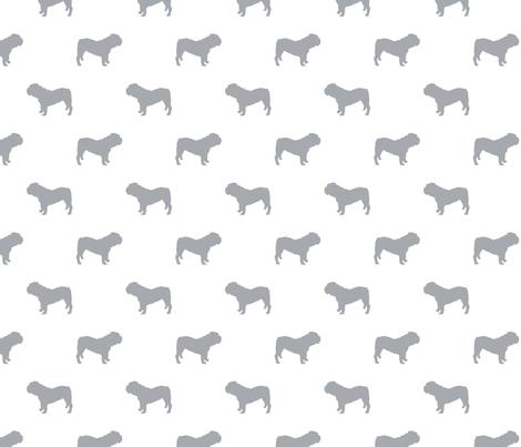 English Bulldog silhouette dog fabric grey fabric by petfriendly on Spoonflower - custom fabric