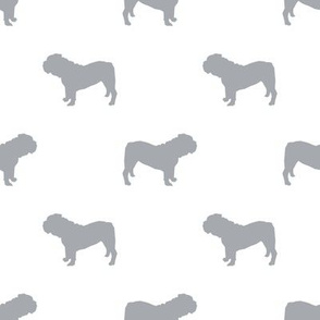 English Bulldog silhouette dog fabric grey