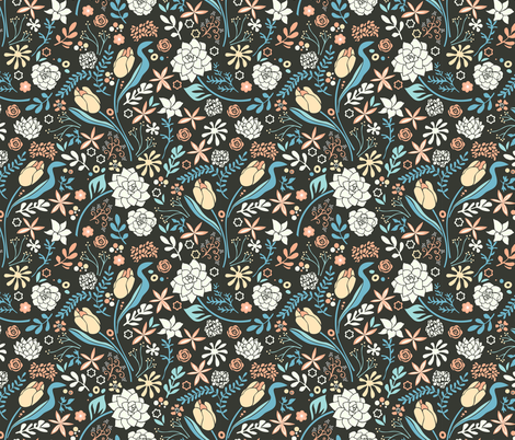 Tulip flowerbed, blue fabric by camcreative on Spoonflower - custom fabric