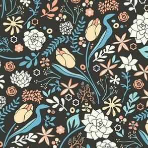 Tulip flowerbed, blue