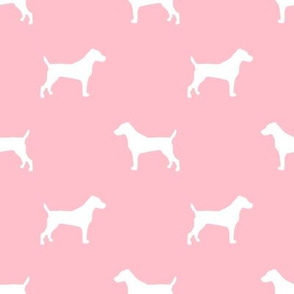 jack russell silhouette fabric dog silhouette fabric - blossom pink