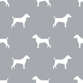 jack russell silhouette fabric dog silhouette fabric - grey