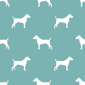 jack russell silhouette fabric dog silhouette fabric - gulf blue