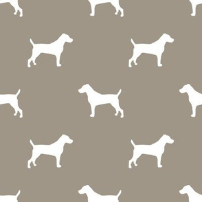 jack russell silhouette fabric dog silhouette fabric - medium brown