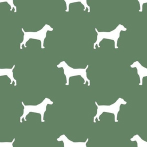 jack russell silhouette fabric dog silhouette fabric - medium green
