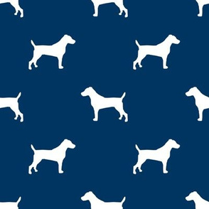 jack russell silhouette fabric dog silhouette fabric - navy