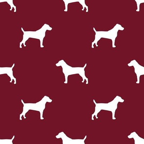 jack russell silhouette fabric dog silhouette fabric - ruby