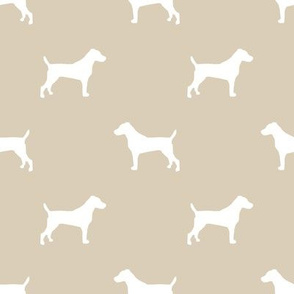 jack russell silhouette fabric dog silhouette fabric - sand