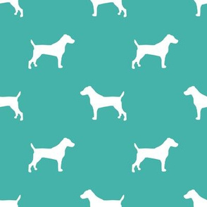 jack russell silhouette fabric dog silhouette fabric - turquoise