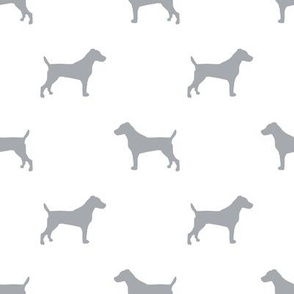 jack russell silhouette fabric dog silhouette fabric - white and grey