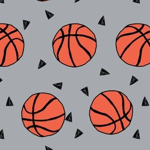 basketball fabric // sports basketball themed fabric - grey