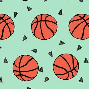 basketball fabric // sports basketball themed fabric - mint