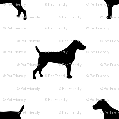 jack russell silhouette fabric dog silhouette fabric - white and black