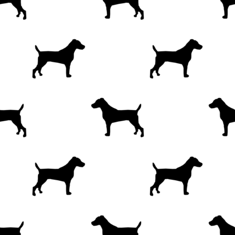 jack russell silhouette fabric dog silhouette fabric - white and black fabric by petfriendly on Spoonflower - custom fabric