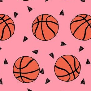 basketball fabric // sports basketball themed fabric - pink