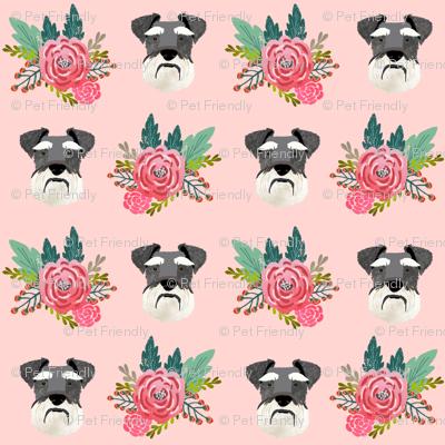 schnauzer dog fabric florals dog head fabric pink