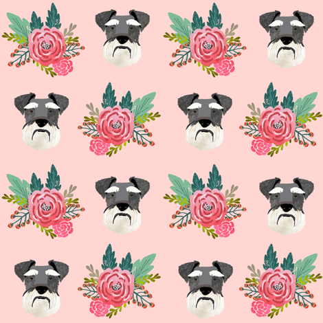 schnauzer dog fabric florals dog head fabric pink fabric by petfriendly on Spoonflower - custom fabric