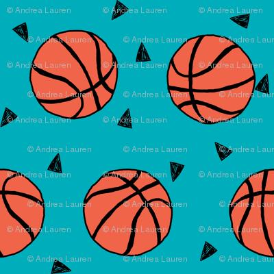 basketball fabric // sports basketball themed fabric - teal