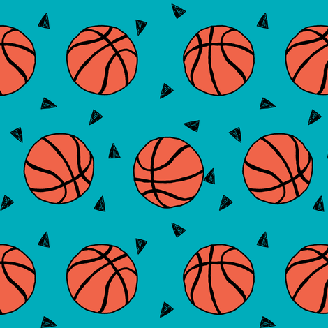 basketball fabric // sports basketball themed fabric - teal fabric by andrea_lauren on Spoonflower - custom fabric