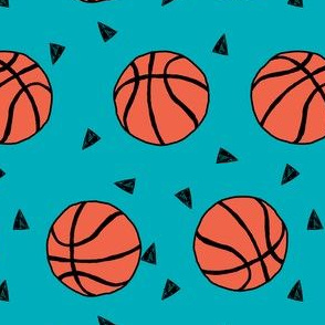 basketball fabric // sports basketball themed fabric - teal