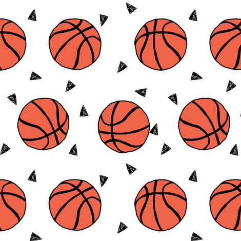 basketball fabric // sports basketball themed fabric - white fabric by andrea_lauren on Spoonflower - custom fabric