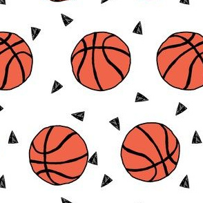 basketball fabric // sports basketball themed fabric - white
