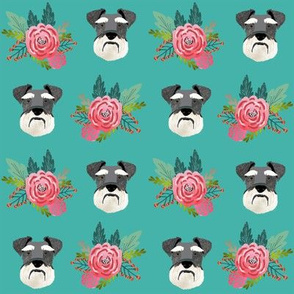 schnauzer dog fabric florals dog head fabric turquoise