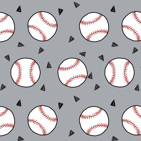 baseball fabric // sports baseball american themed fabric - grey fabric by andrea_lauren on Spoonflower - custom fabric