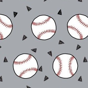 baseball fabric // sports baseball american themed fabric - grey