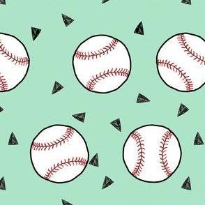 baseball fabric // sports baseball american themed fabric - mint