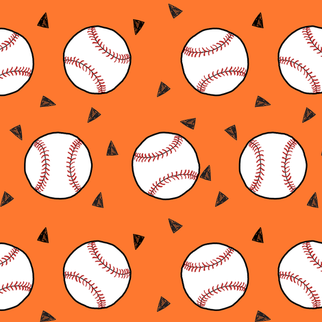 baseball fabric // sports baseball american themed fabric - orange fabric by andrea_lauren on Spoonflower - custom fabric