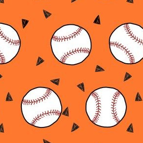 baseball fabric // sports baseball american themed fabric - orange