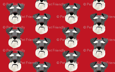 schnauzer head fabric dog head fabric dogs pets pet fabric - red