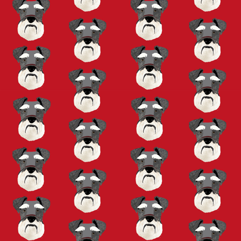 schnauzer head fabric dog head fabric dogs pets pet fabric - red fabric by petfriendly on Spoonflower - custom fabric