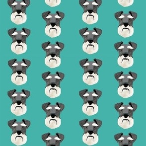 schnauzer head fabric dog head fabric dogs pets pet fabric - turquoise