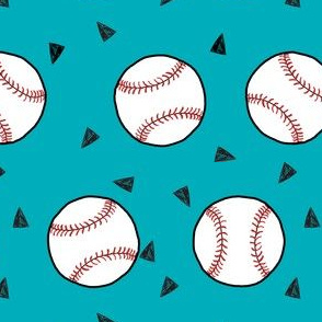 baseball fabric // sports baseball american themed fabric - teal