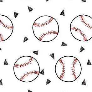 baseball fabric // sports baseball american themed fabric - white