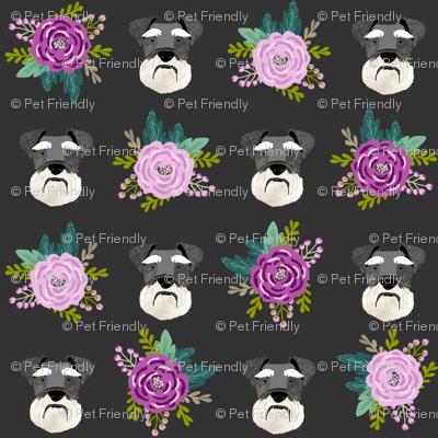 schnauzer dog fabric florals dog head fabric purple