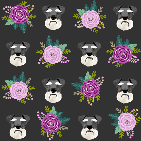 schnauzer dog fabric florals dog head fabric purple  fabric by petfriendly on Spoonflower - custom fabric