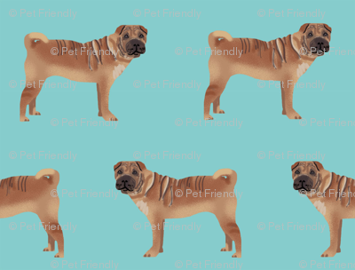 sharpei fabric dog design - blue