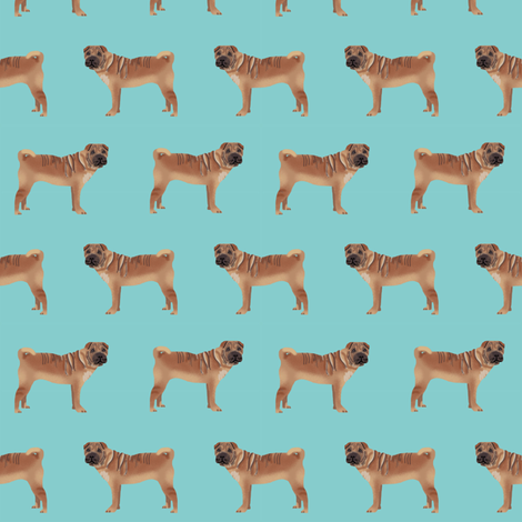 sharpei fabric dog design - blue fabric by petfriendly on Spoonflower - custom fabric