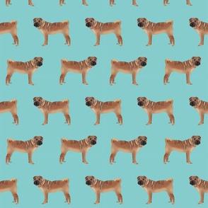sharpei fabric dog design - blue