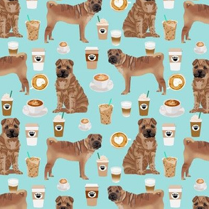 sharpei fabric dog design coffee fabric sharpei dogs- blue tint