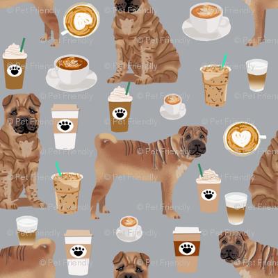 sharpei fabric dog design coffee fabric sharpei dogs- grey