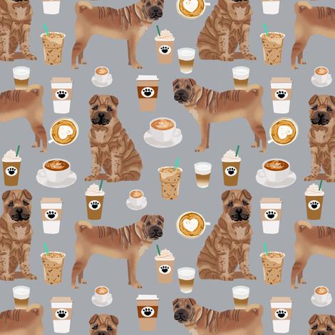 sharpei fabric dog design coffee fabric sharpei dogs- grey fabric by petfriendly on Spoonflower - custom fabric