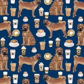 sharpei fabric dog design coffee fabric sharpei dogs- navy