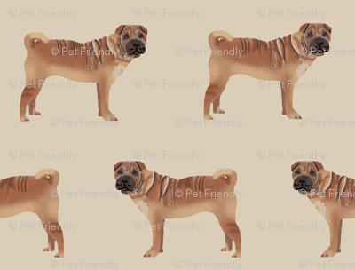 sharpei fabric dog design pattern pet friendly original design  - sand