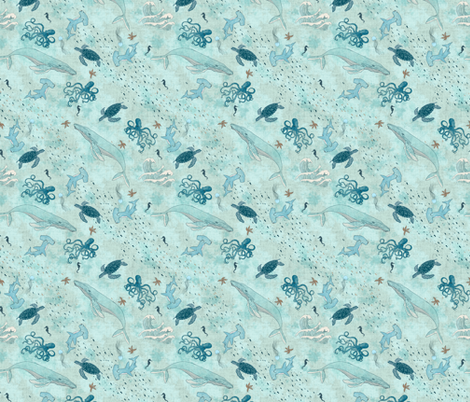 Nautical - Whales, Seaturtles, Fishes, Sharks, Seahorses  fabric by rebecca_reck_art on Spoonflower - custom fabric